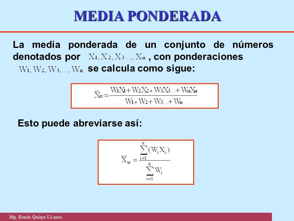 MEDIA PONDERADA La media ponderada de un conjunto de números denotados por , con ponderaciones.