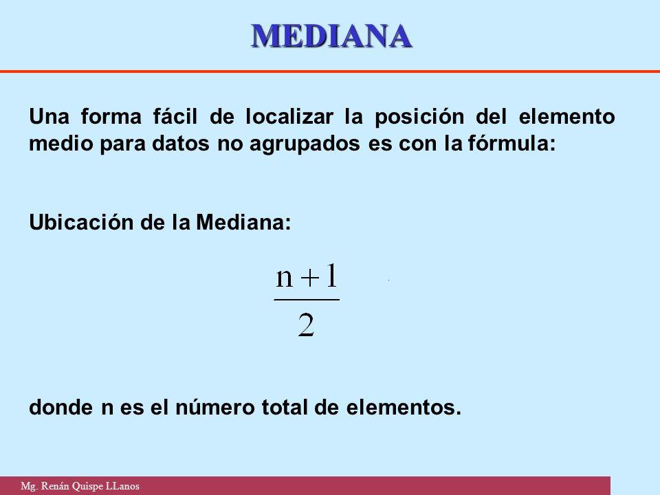 MEDIANA Una forma fácil de localizar la posición del elemento medio para datos no agrupados es con la fórmula: