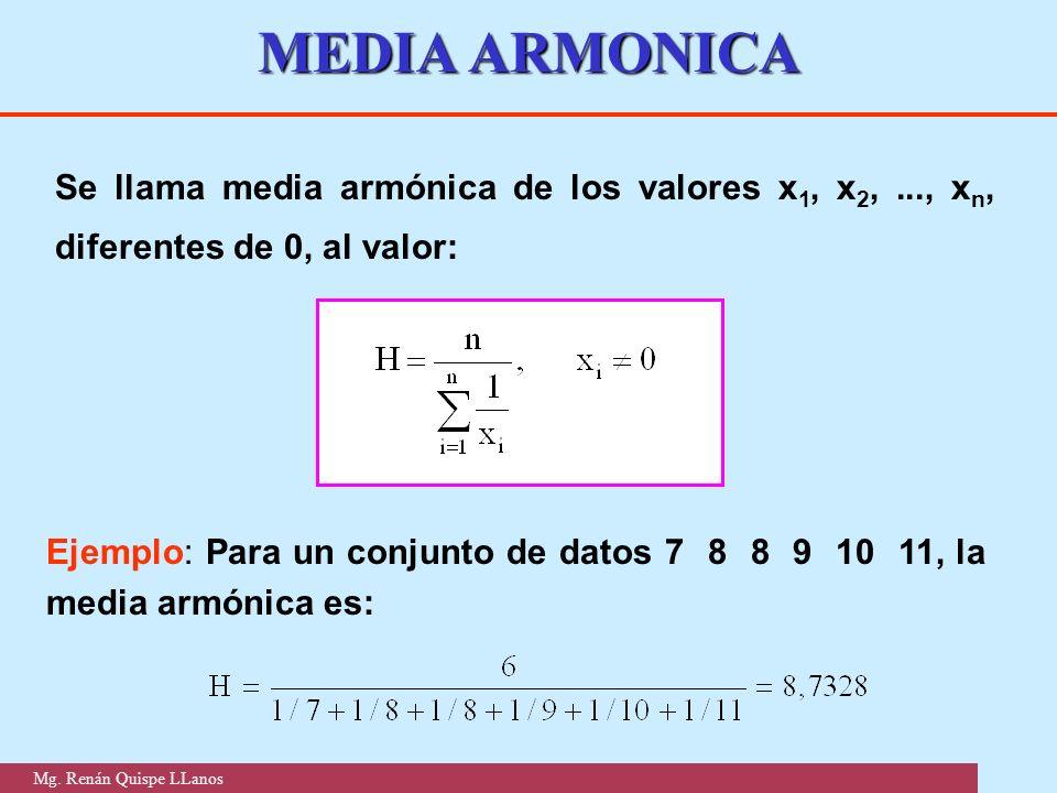 MEDIA ARMONICA Se llama media armónica de los valores x1, x2, ..., xn, diferentes de 0, al valor: