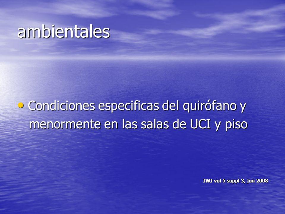 ambientales Condiciones especificas del quirófano y
