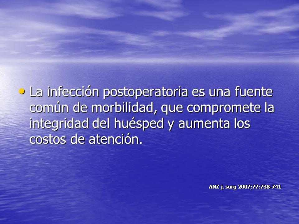 La infección postoperatoria es una fuente común de morbilidad, que compromete la integridad del huésped y aumenta los costos de atención.