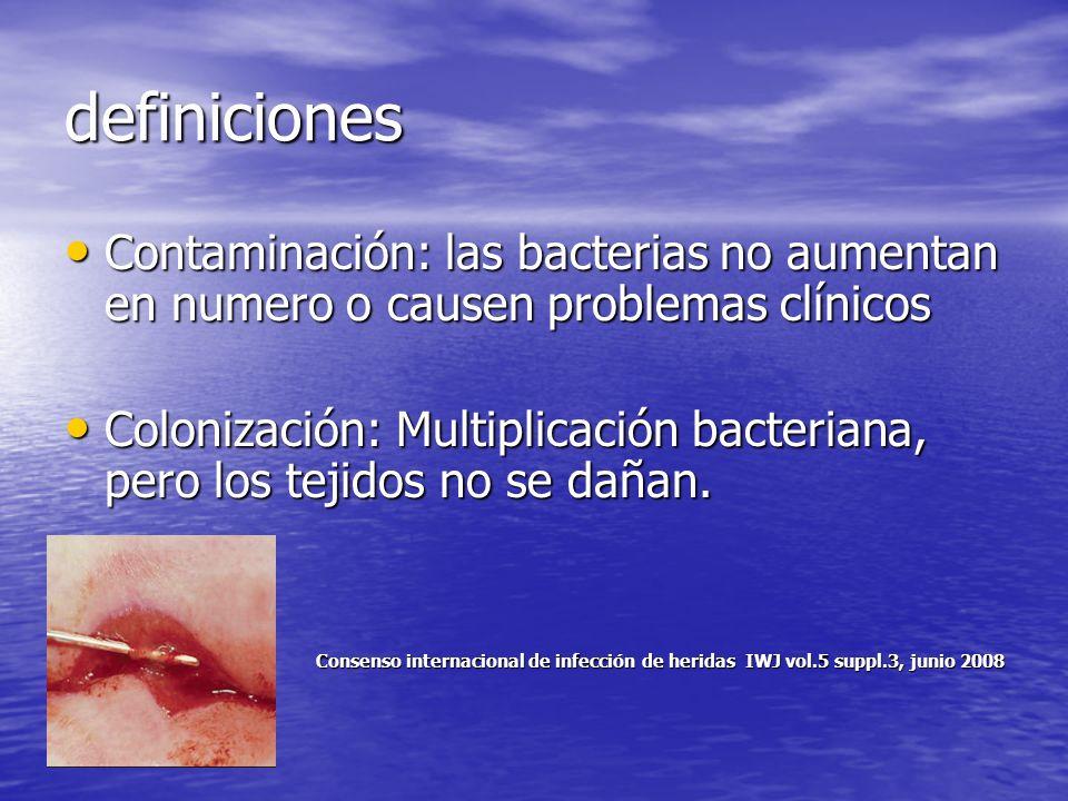 definiciones Contaminación: las bacterias no aumentan en numero o causen problemas clínicos.