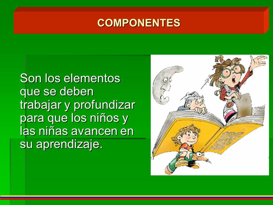 COMPONENTES Son los elementos que se deben trabajar y profundizar para que los niños y las niñas avancen en su aprendizaje.