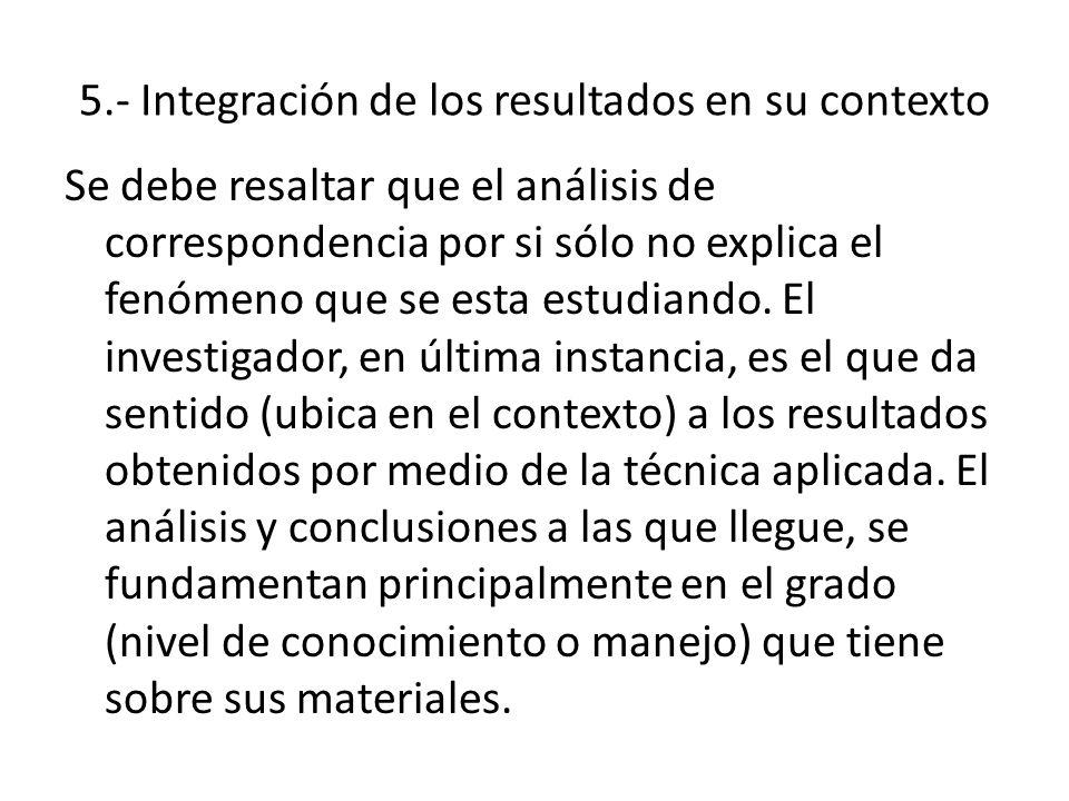 5.- Integración de los resultados en su contexto