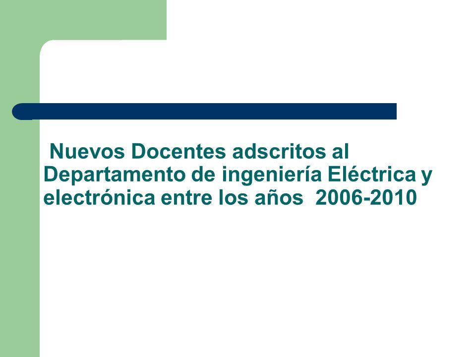 Nuevos Docentes adscritos al Departamento de ingeniería Eléctrica y electrónica entre los años 2006-2010