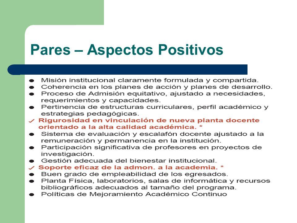 Pares – Aspectos Positivos