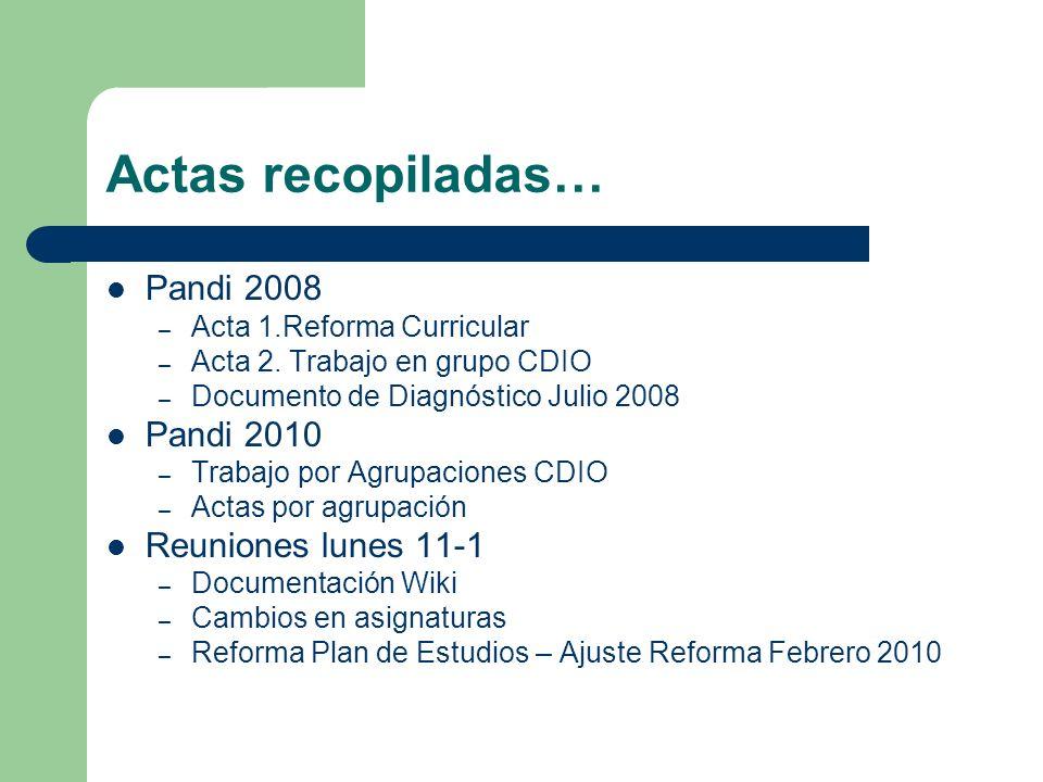 Actas recopiladas… Pandi 2008 Pandi 2010 Reuniones lunes 11-1