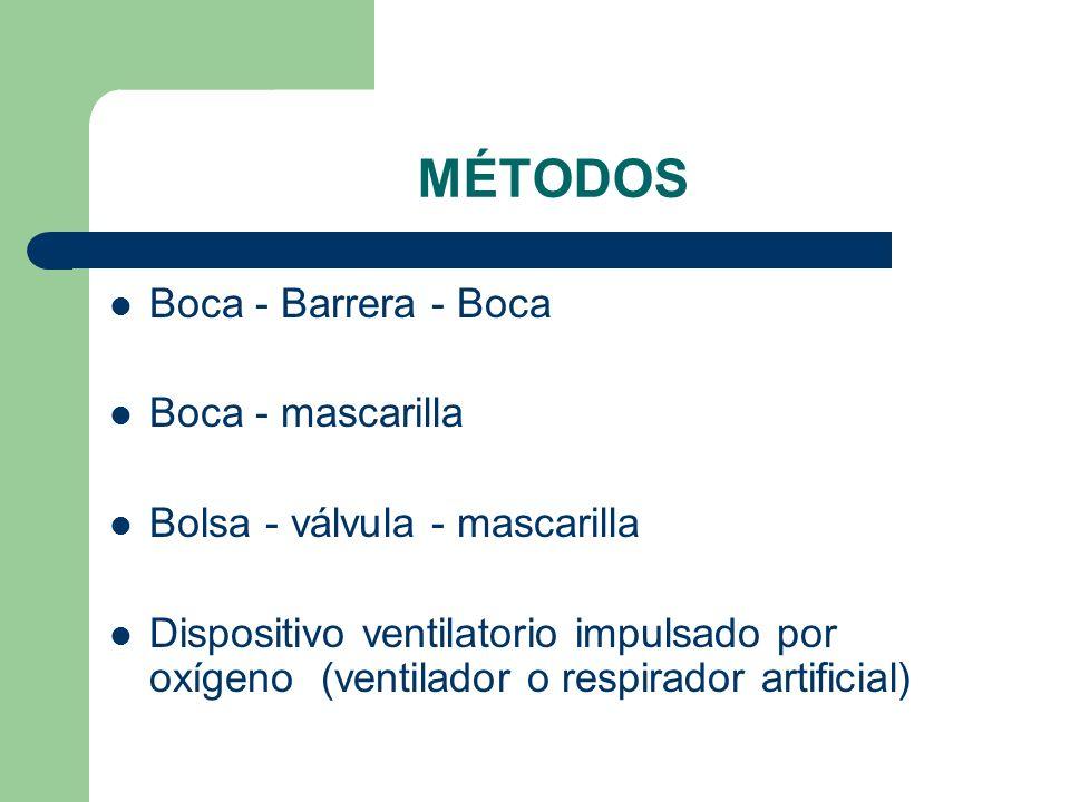 MÉTODOS Boca - Barrera - Boca Boca - mascarilla