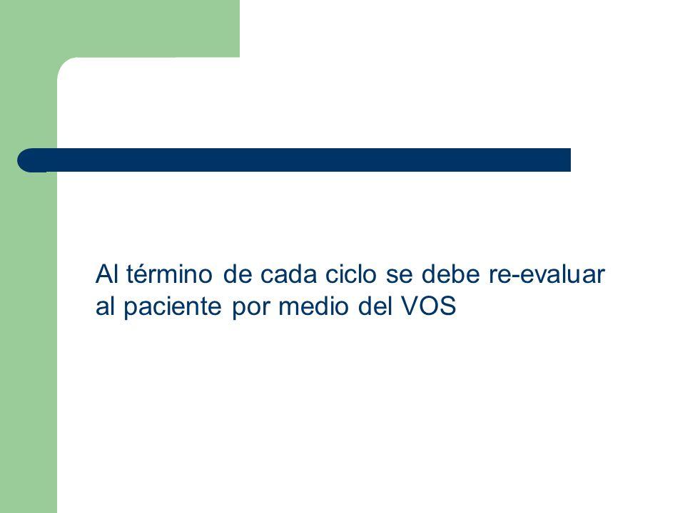 Al término de cada ciclo se debe re-evaluar al paciente por medio del VOS