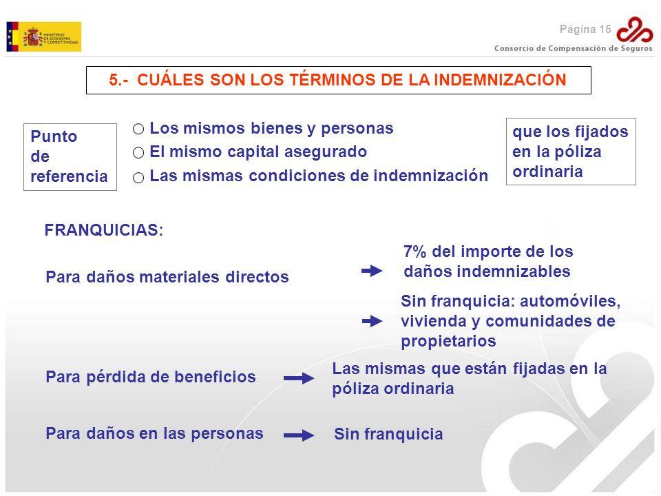 5.- CUÁLES SON LOS TÉRMINOS DE LA INDEMNIZACIÓN