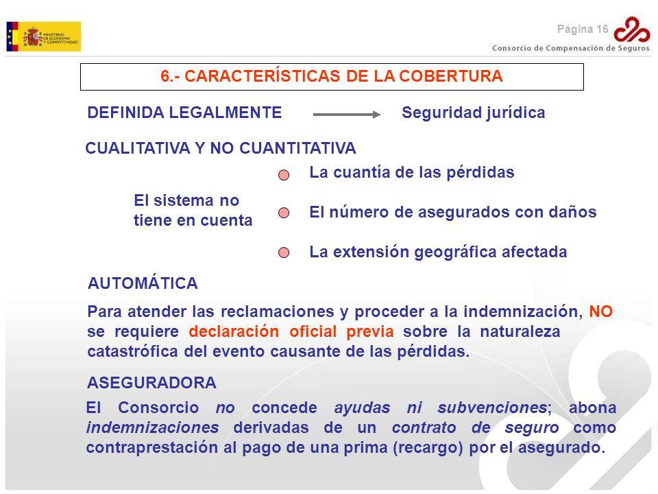 6.- CARACTERÍSTICAS DE LA COBERTURA