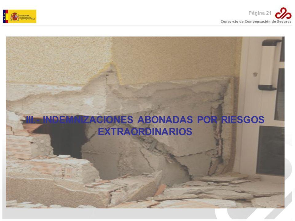 III.- INDEMNIZACIONES ABONADAS POR RIESGOS EXTRAORDINARIOS