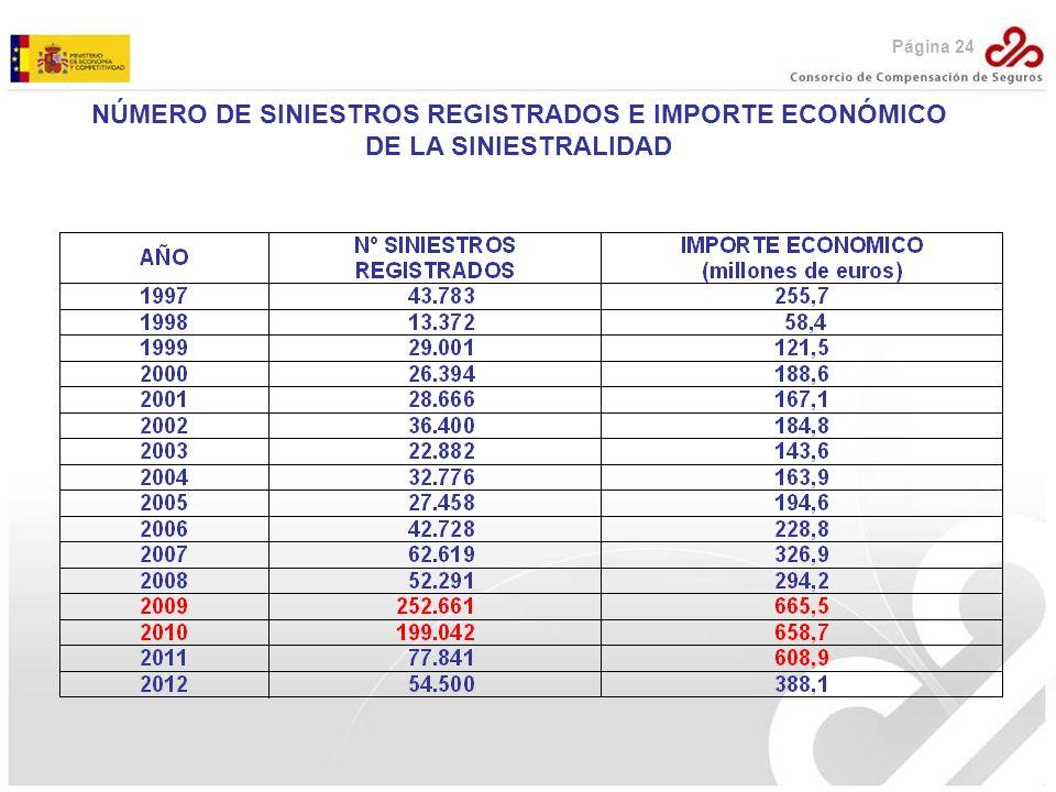 Página 24 NÚMERO DE SINIESTROS REGISTRADOS E IMPORTE ECONÓMICO DE LA SINIESTRALIDAD