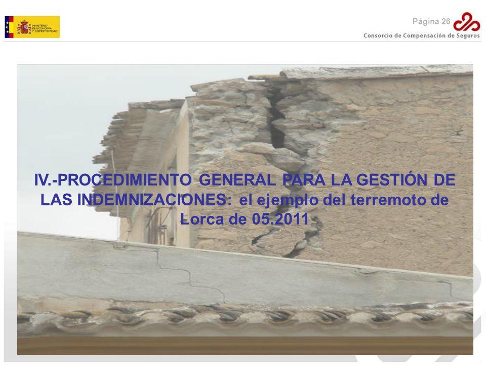 Página 26 IV.-PROCEDIMIENTO GENERAL PARA LA GESTIÓN DE LAS INDEMNIZACIONES: el ejemplo del terremoto de Lorca de 05.2011.