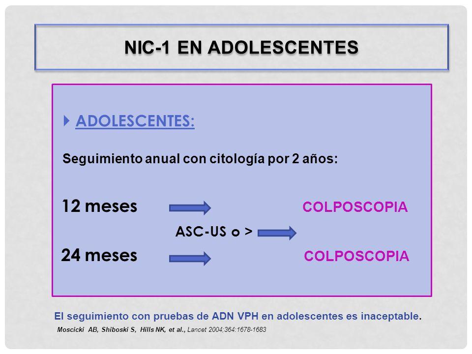 NIC-1 EN ADOLESCENTES 12 meses COLPOSCOPIA ASC-US o >