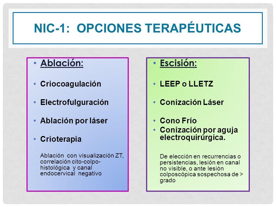 NIC-1: OPCIONES TERAPÉUTICAS