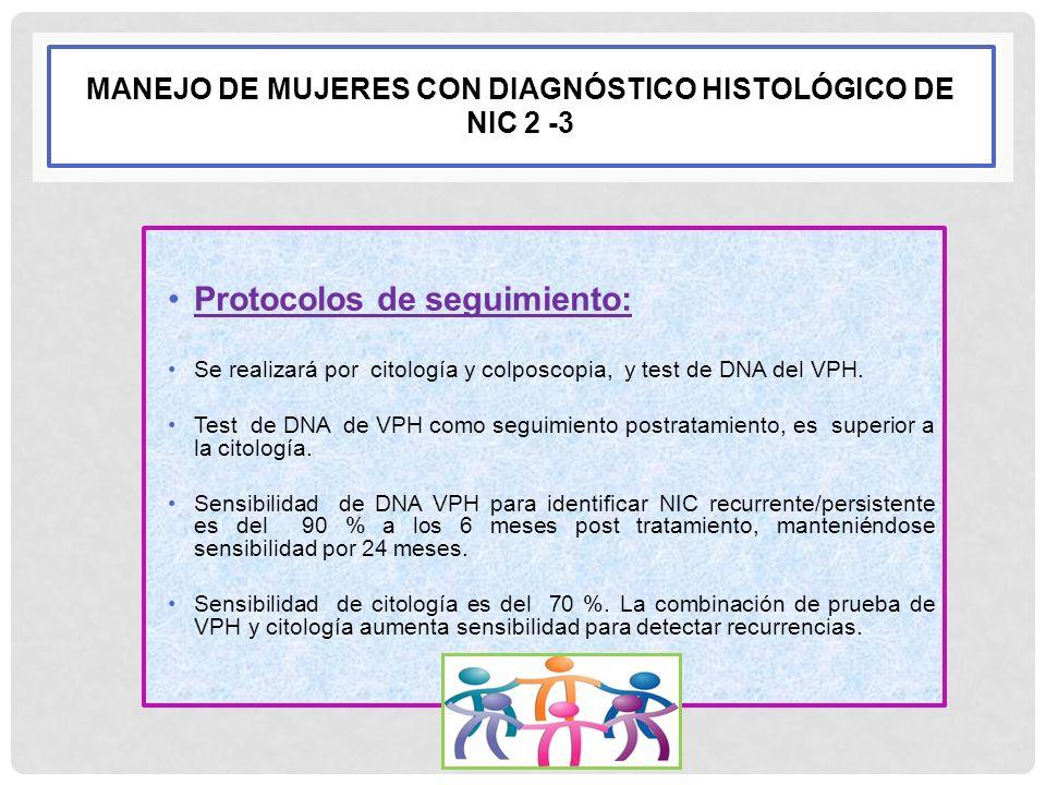 MANEJO DE MUJERES CON DIAGNÓSTICO HISTOLÓGICO DE NIC 2 -3