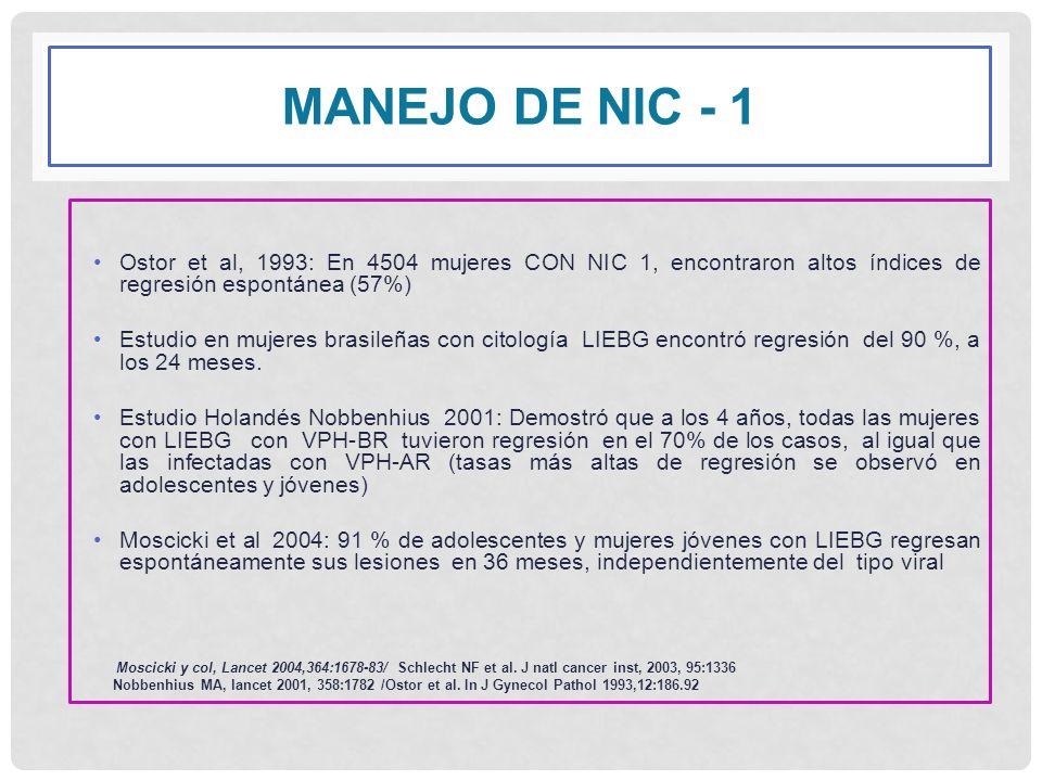 MANEJO DE Nic - 1 Ostor et al, 1993: En 4504 mujeres CON NIC 1, encontraron altos índices de regresión espontánea (57%)
