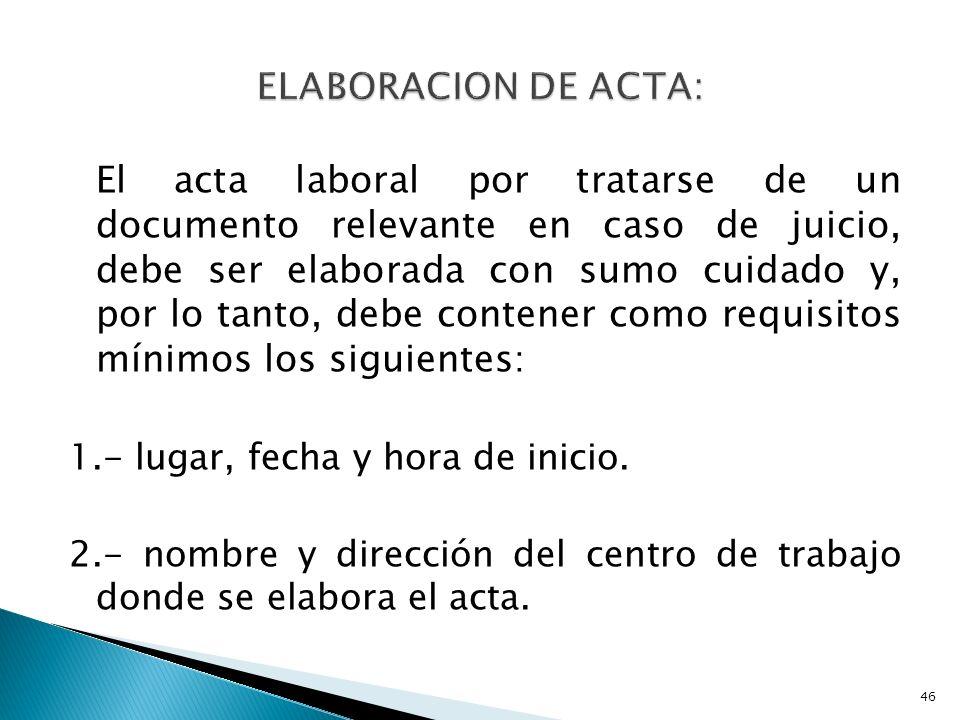 ELABORACION DE ACTA:
