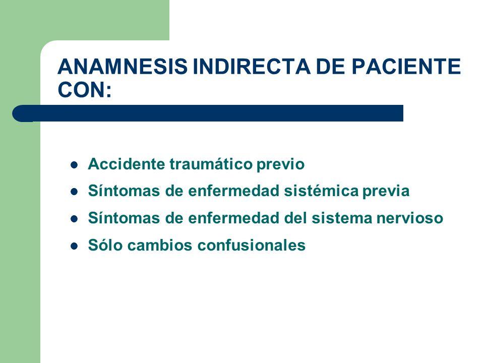 ANAMNESIS INDIRECTA DE PACIENTE CON:
