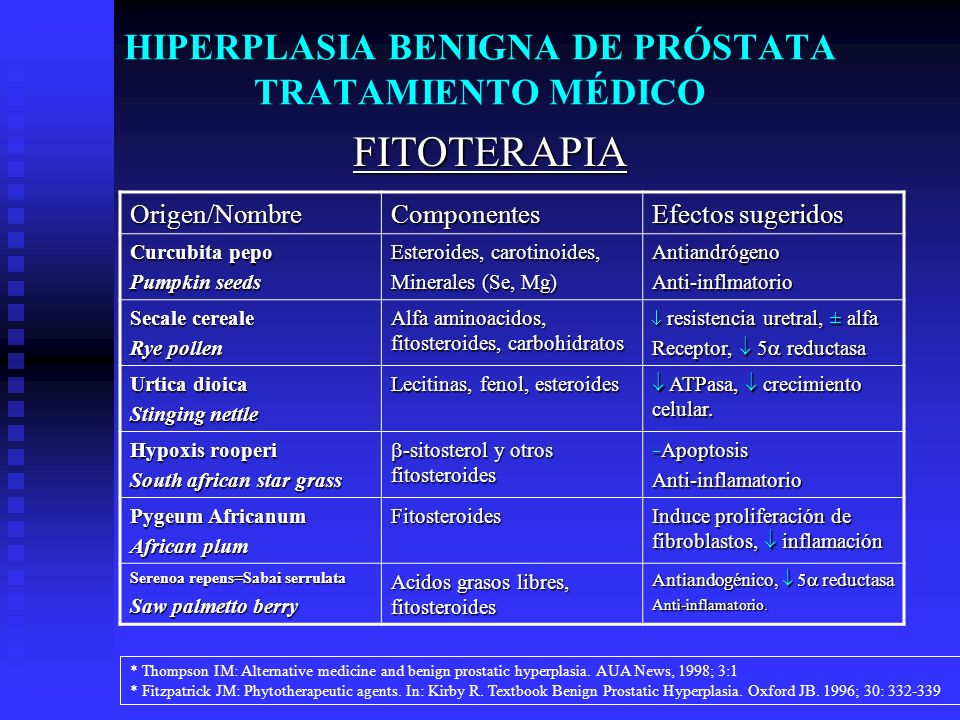 HIPERPLASIA BENIGNA DE PRÓSTATA TRATAMIENTO MÉDICO