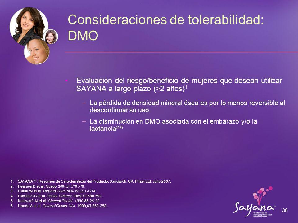 Consideraciones de tolerabilidad: DMO