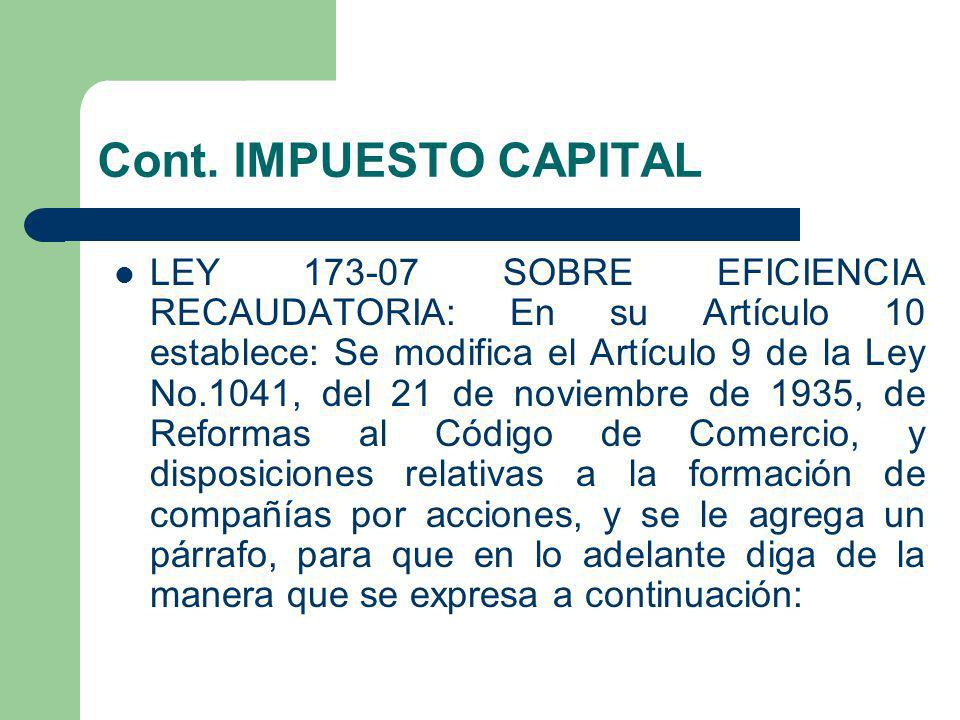 Cont. IMPUESTO CAPITAL