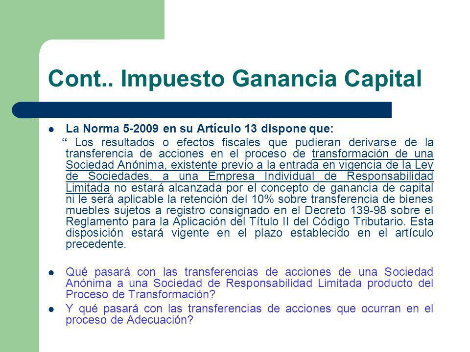 Cont.. Impuesto Ganancia Capital