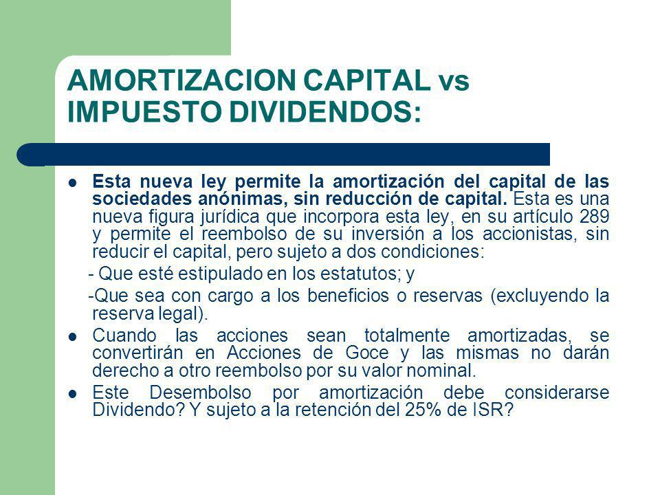 AMORTIZACION CAPITAL vs IMPUESTO DIVIDENDOS: