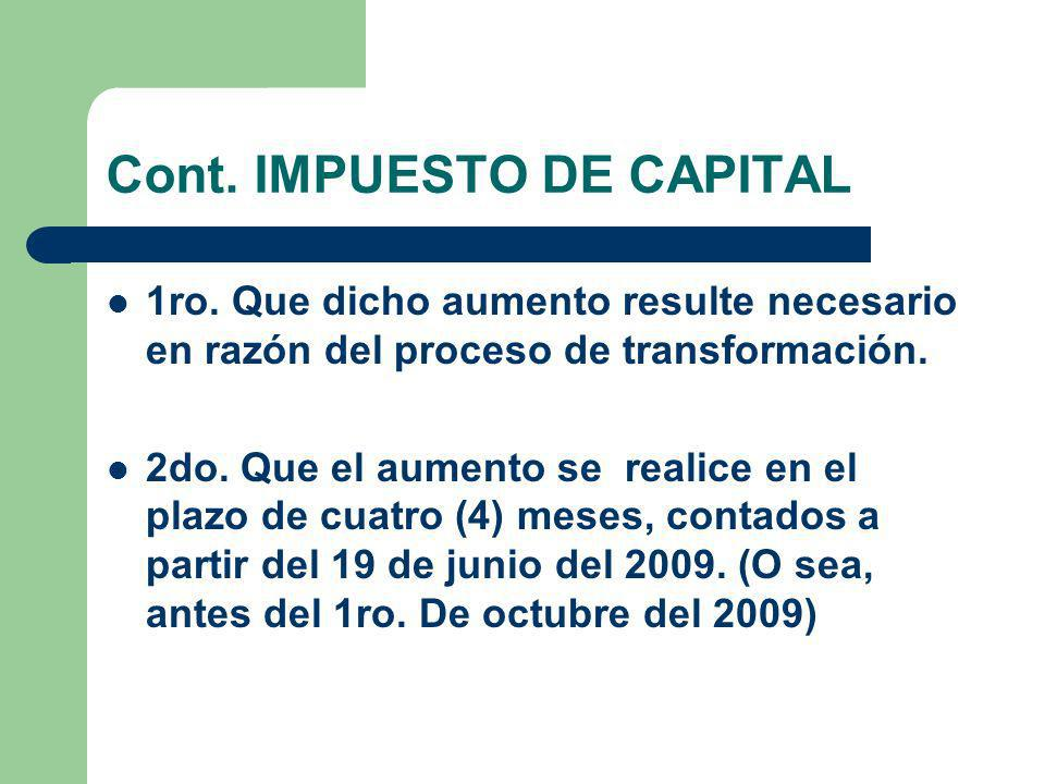 Cont. IMPUESTO DE CAPITAL