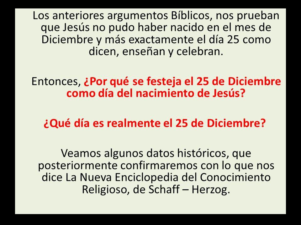 Los anteriores argumentos Bíblicos, nos prueban que Jesús no pudo haber nacido en el mes de Diciembre y más exactamente el día 25 como dicen, enseñan y celebran.