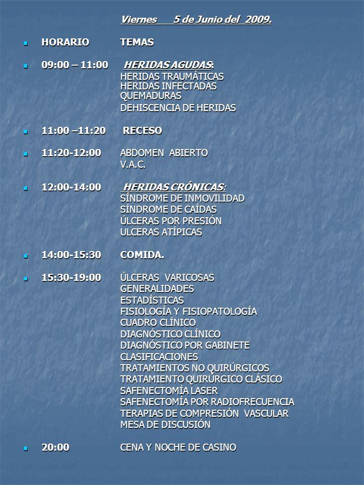 Viernes 5 de Junio del 2009. HORARIO TEMAS. 09:00 – 11:00 HERIDAS AGUDAS: HERIDAS TRAUMÁTICAS HERIDAS INFECTADAS QUEMADURAS.
