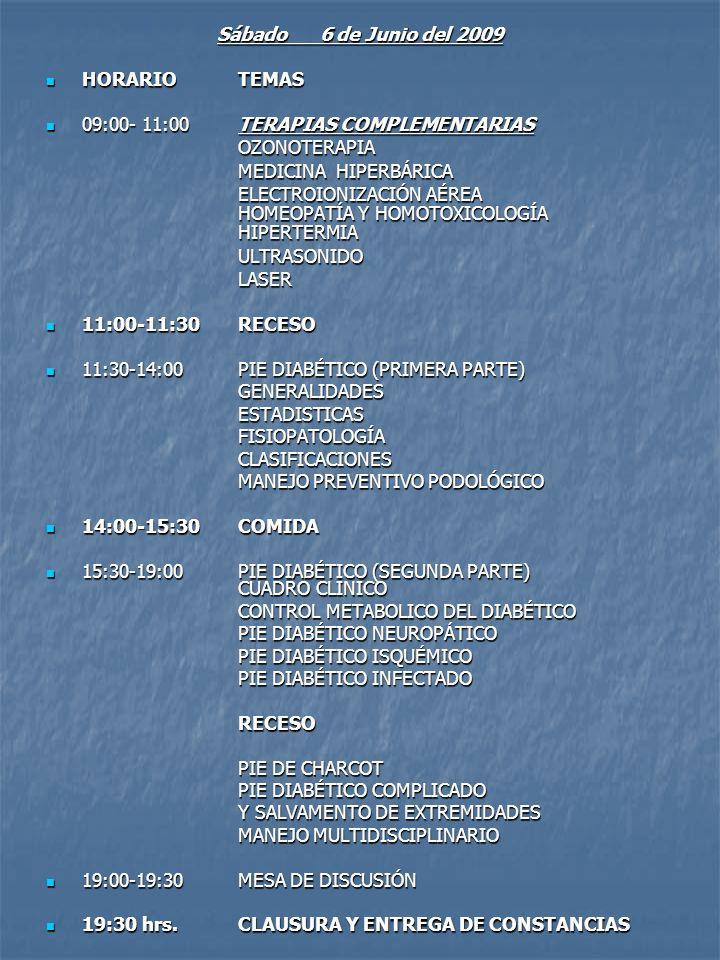 Sábado 6 de Junio del 2009 HORARIO TEMAS. 09:00- 11:00 TERAPIAS COMPLEMENTARIAS. OZONOTERAPIA.