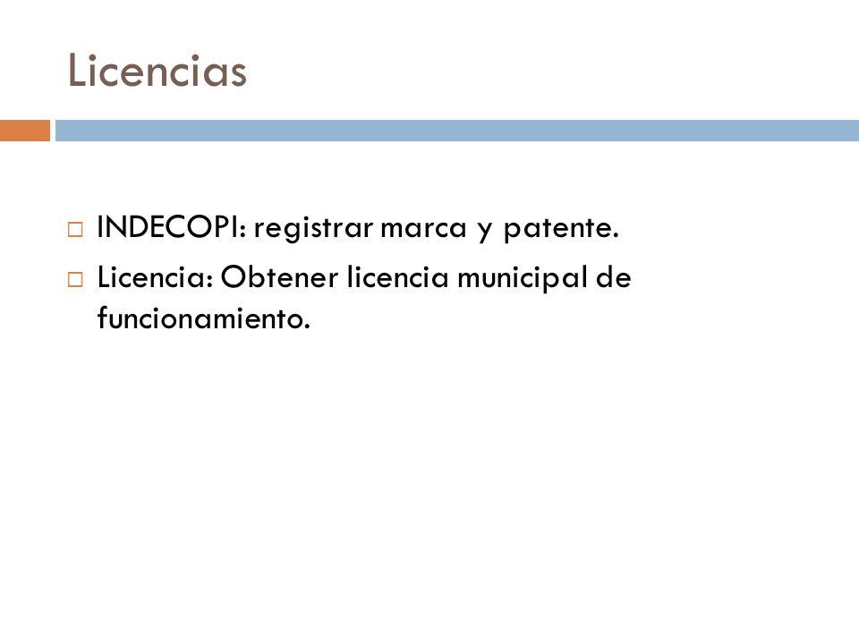 Licencias INDECOPI: registrar marca y patente.