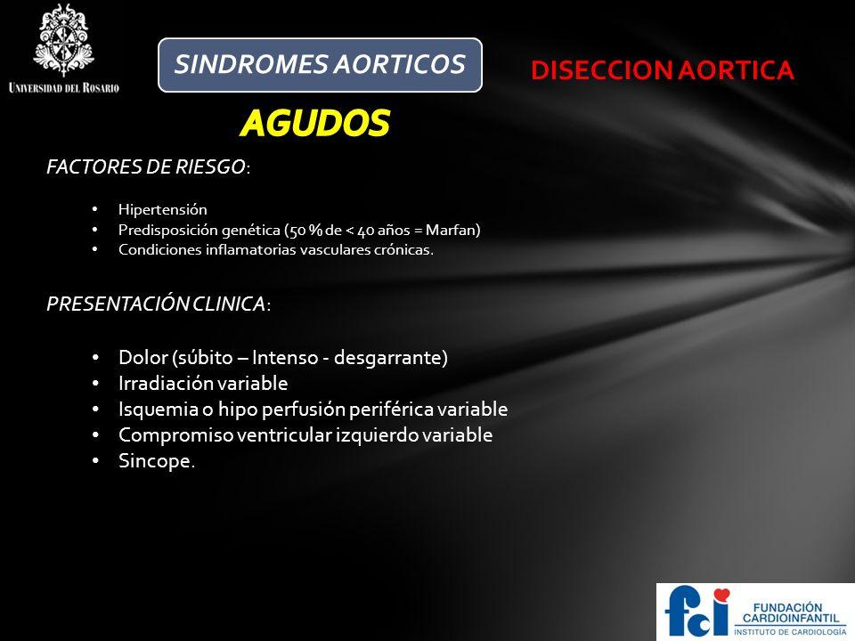 AGUDOS SINDROMES AORTICOS DISECCION AORTICA FACTORES DE RIESGO: