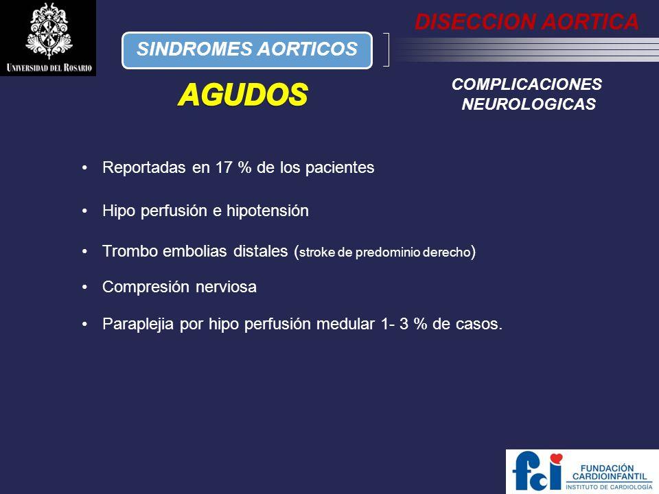 AGUDOS DISECCION AORTICA SINDROMES AORTICOS COMPLICACIONES