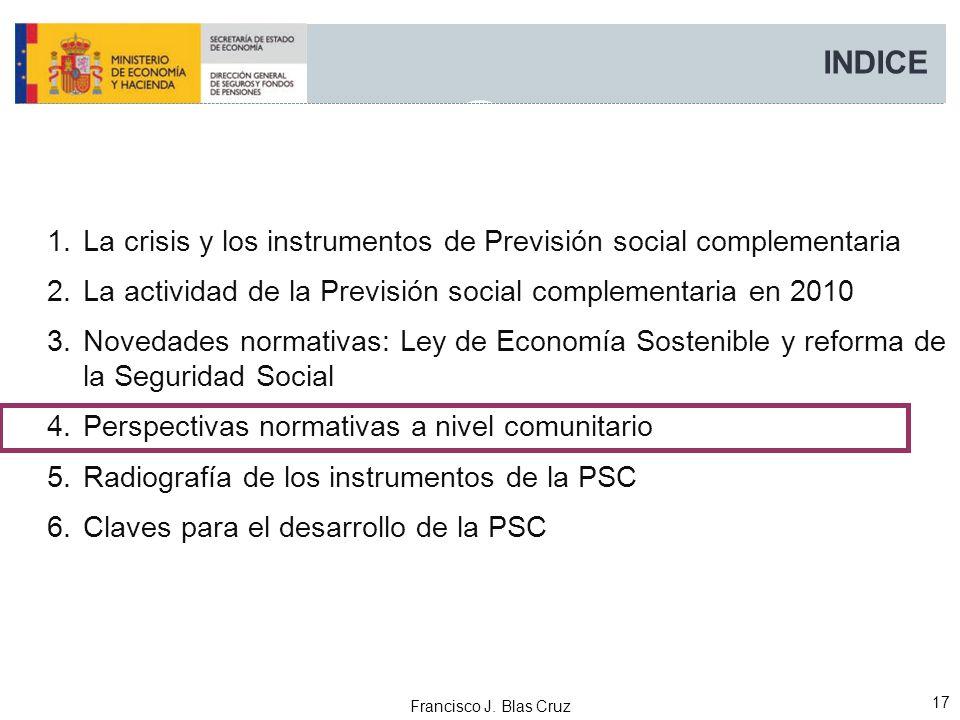 INDICE La crisis y los instrumentos de Previsión social complementaria