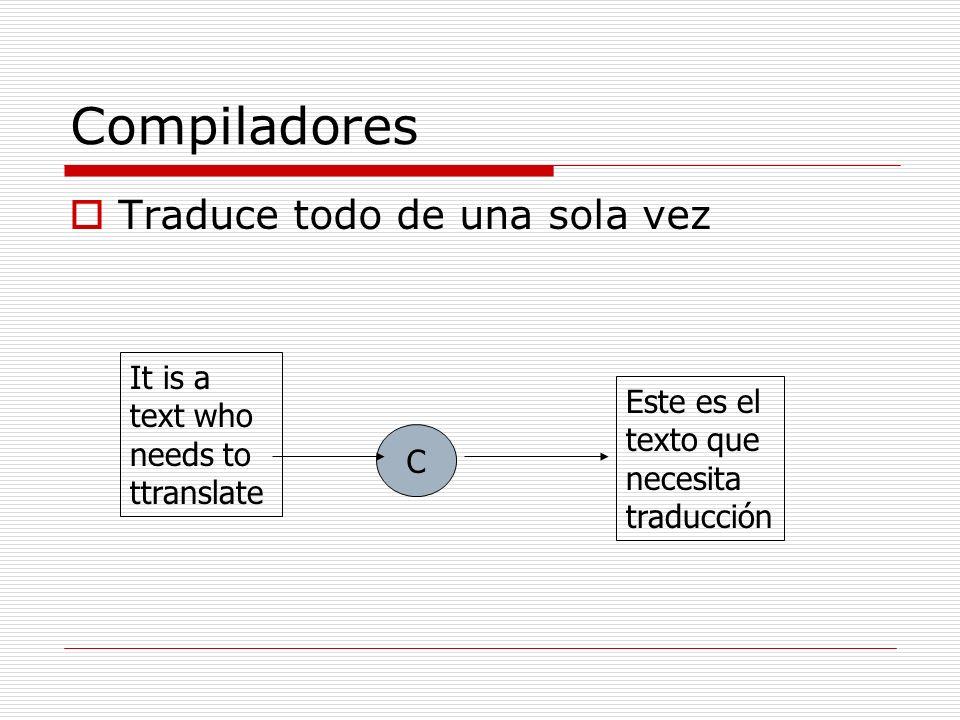 Compiladores Traduce todo de una sola vez