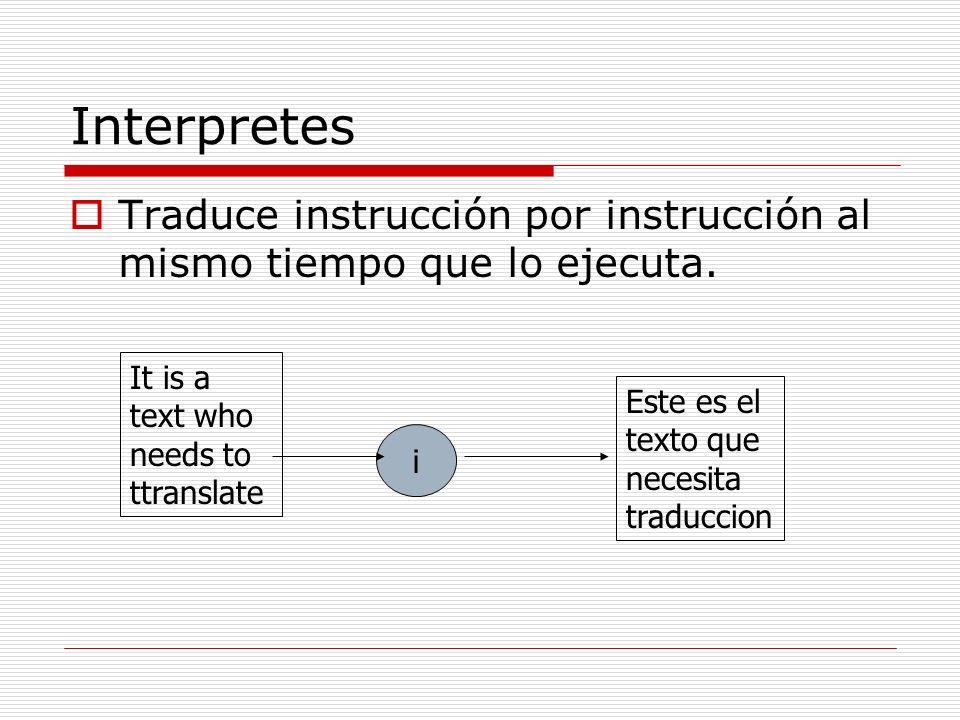 Interpretes Traduce instrucción por instrucción al mismo tiempo que lo ejecuta. It is a text who needs to ttranslate.