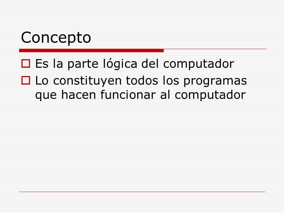 Concepto Es la parte lógica del computador