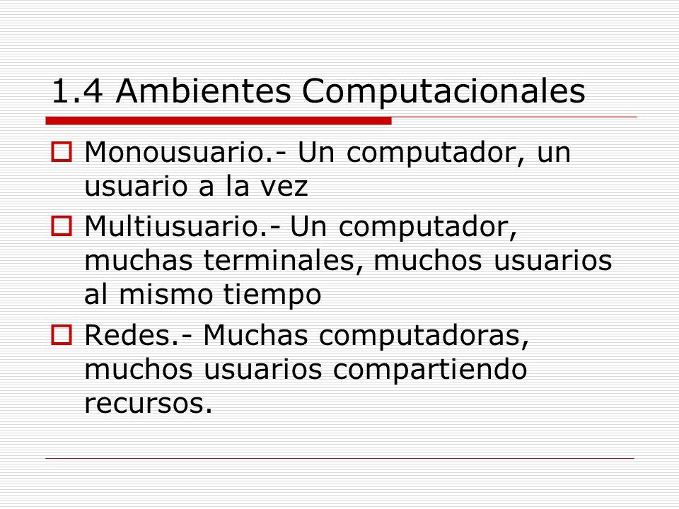 1.4 Ambientes Computacionales