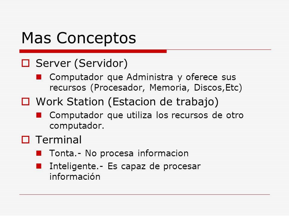 Mas Conceptos Server (Servidor) Work Station (Estacion de trabajo)