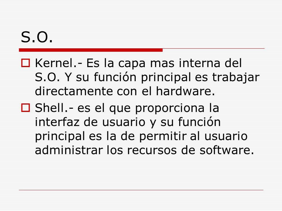 S.O. Kernel.- Es la capa mas interna del S.O. Y su función principal es trabajar directamente con el hardware.