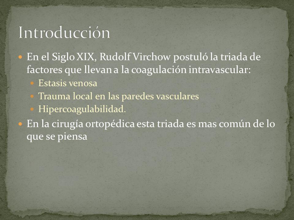 IntroducciónEn el Siglo XIX, Rudolf Virchow postuló la triada de factores que llevan a la coagulación intravascular: