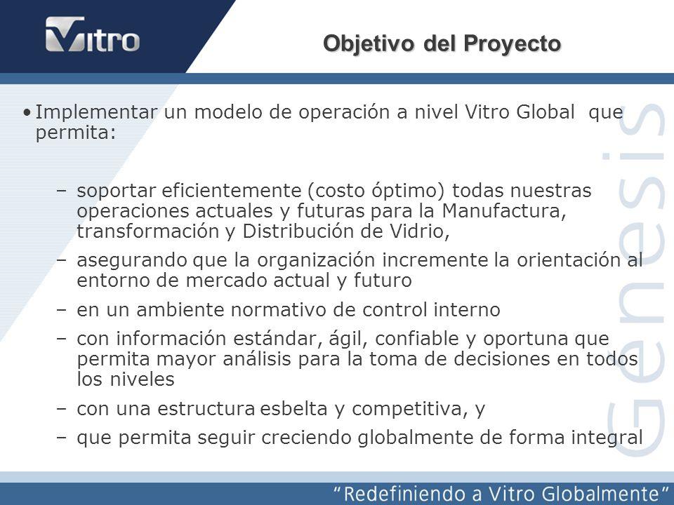 Objetivo del Proyecto Implementar un modelo de operación a nivel Vitro Global que permita:
