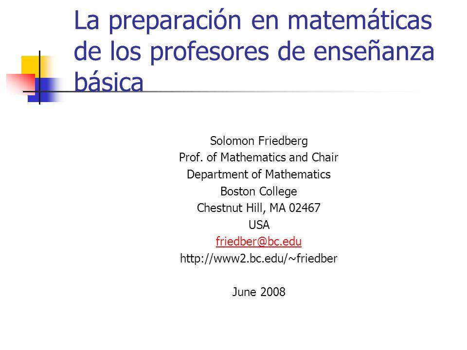 La preparación en matemáticas de los profesores de enseñanza básica