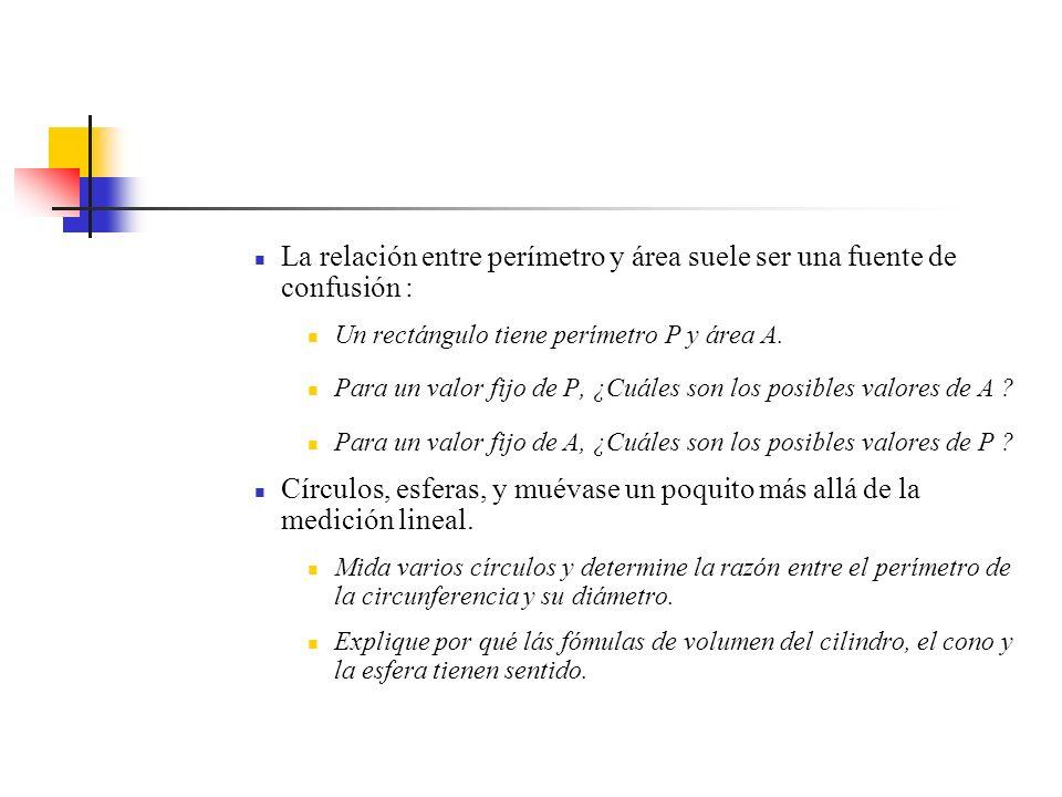 La relación entre perímetro y área suele ser una fuente de confusión :