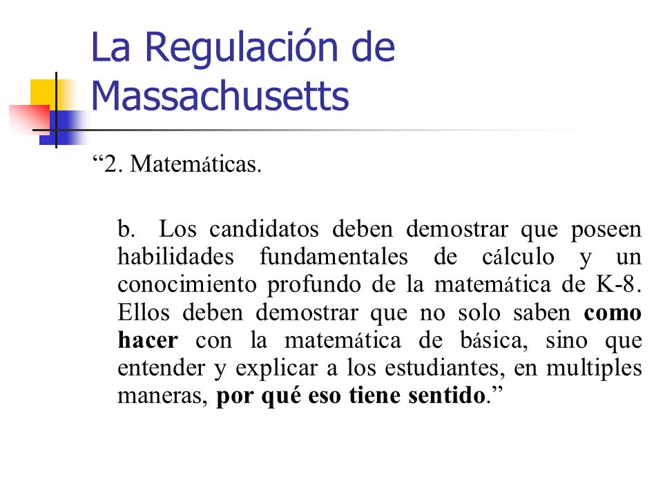 La Regulación de Massachusetts