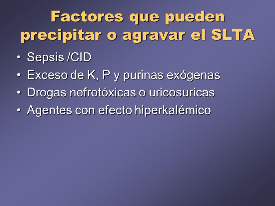 Factores que pueden precipitar o agravar el SLTA