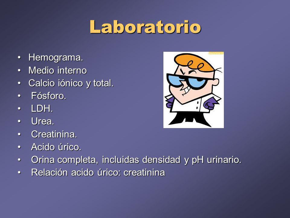 Laboratorio Hemograma. Medio interno Calcio iónico y total. Fósforo.